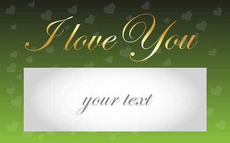 contentment: Card I love You - golden text I love You on a background of hearts and fields for your text