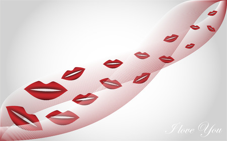 flying kiss: Valentines day - Love background flying kiss on a white background and text I love you