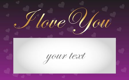 contentment: Card I love You - golden text I love You on a background of red hearts and fields for your text