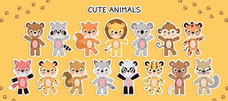 Vector different cute animal set. Illustration set with different animals. Animal sticker template