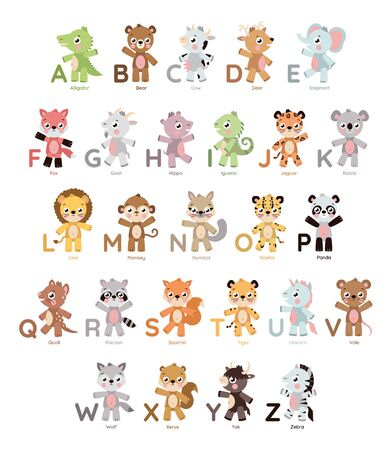 Cute animal alphabet for letter education. Cartoon style adorable animal illustration for kids