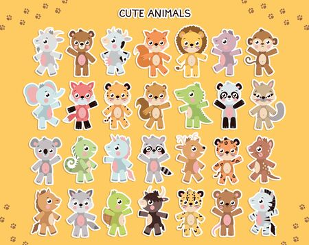 Vector different cute animal sticker template. Illustration set with different animals on yellow background Ilustracja