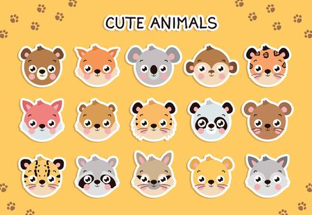 Vector cute animal face set, sticker template