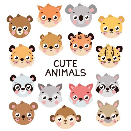 Cute different animal head set. Flat style design