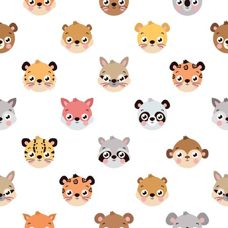 Cute seamless pattern with different animal faces on white background. Seamless pattern for wrapping paper, textile, fabric, cards