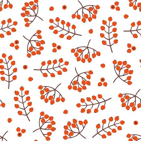 Seamless bright red berry pattern on white background. Christmas berry pattern, perfect for wrapping paper, wallpaper, greeting cards, post cards, pattern fills Illusztráció