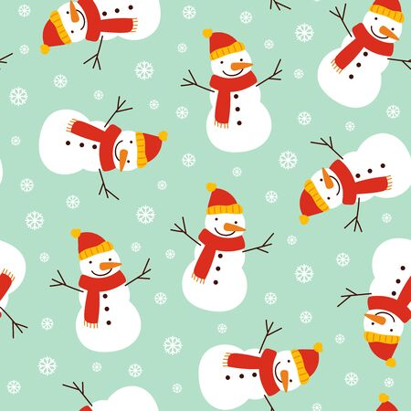 Snowman and snowflake pattern on light blue background. Great for wallpaper, background, wrapping paper, fabric, packaging, greeting cards, invitations Archivio Fotografico - 133685482