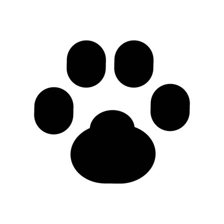 Animal paw vector icon. Black silhouette of a paw print. Ilustrace
