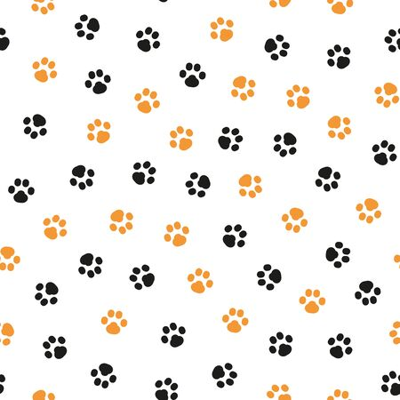 Orange and black paw pattern on white background. Great for wrapping paper, wallpaper, background, fabric, packaging, greeting cards, invitations and more. Иллюстрация