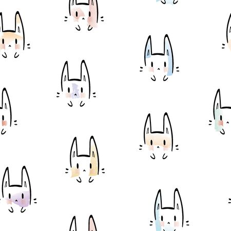 Cheerful bunny pattern on white background. Great for wallpaper, web background, wrapping paper, fabric, packaging, greeting cards, invitations and more. Ilustracja