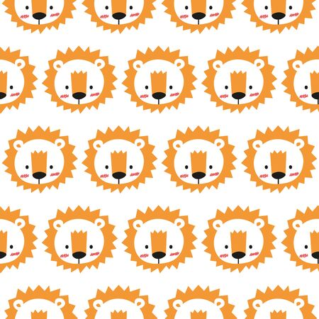 Cheerful lion pattern on white background. Great for wrapping paper, wallpaper, background, fabric, packaging, greeting cards, invitations and more.