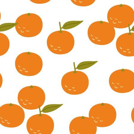 Tangerine seamless pattern on white background. Great for wallpaper, web background, wrapping paper, fabric, packaging, greeting cards, invitations and more.