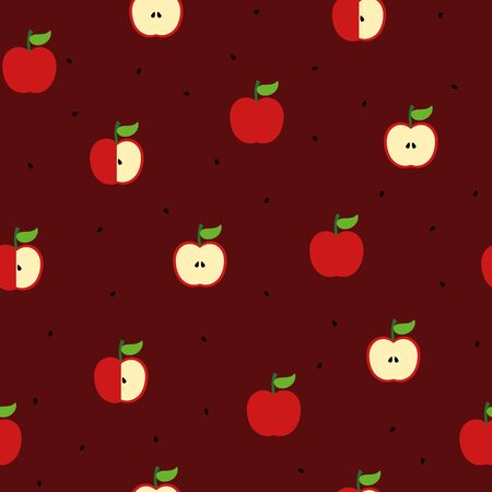 Apple and seed seamless pattern on wine red background. Perfect for wallpaper, background, wrapping paper, fabric, packaging, greeting cards, invitations