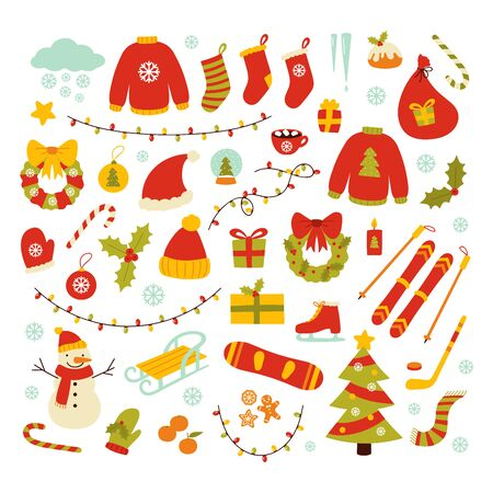Winter and Christmas related objects. Collection of winter season elements. Hand drawn vector illustrations. Archivio Fotografico - 133685527