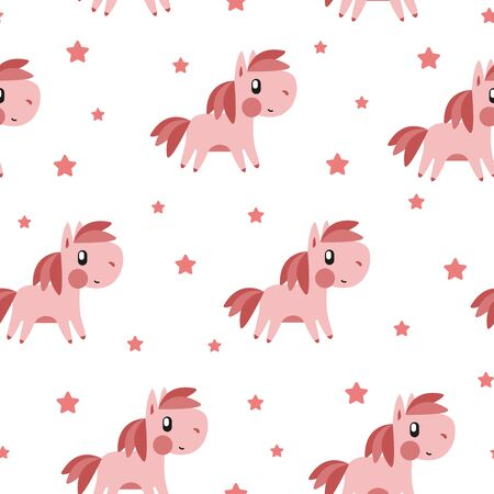 Pink pony and star pattern on white background. Great for wallpaper, background, wrapping paper, fabric, packaging, greeting cards, invitations Foto de archivo - 133685534