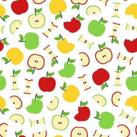 Full, half, slice, bitten apple seamless pattern on white background. Great for wallpaper, background, wrapping paper, fabric, packaging, greeting cards, invitations