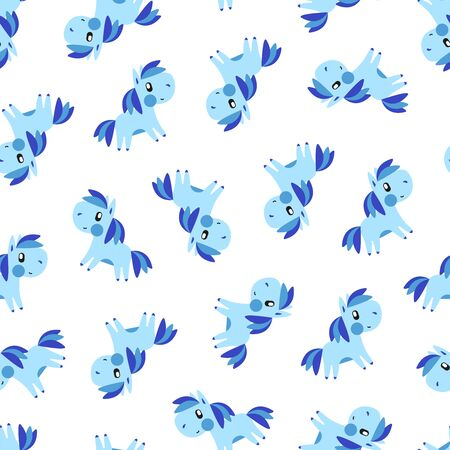 Blue pony pattern on white background. Great for wallpaper, background, wrapping paper, fabric, packaging, greeting cards, invitations Foto de archivo - 133685536
