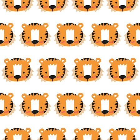Cheerful tiger pattern on white background. Great for wrapping paper, wallpaper, background, fabric, packaging, greeting cards, invitations and more.