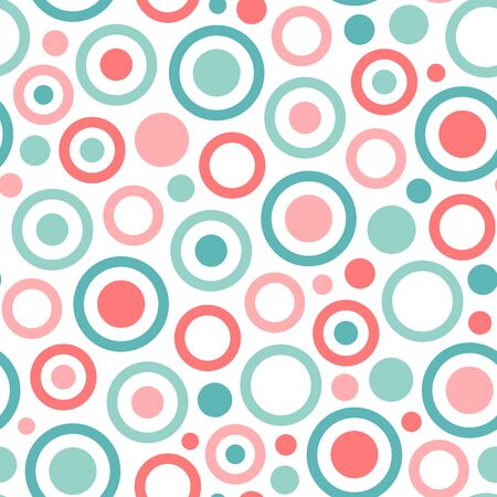 Ring and circle seamless pattern on white background. Great for wallpaper, background, wrapping paper, fabric, packaging, greeting cards, invitations