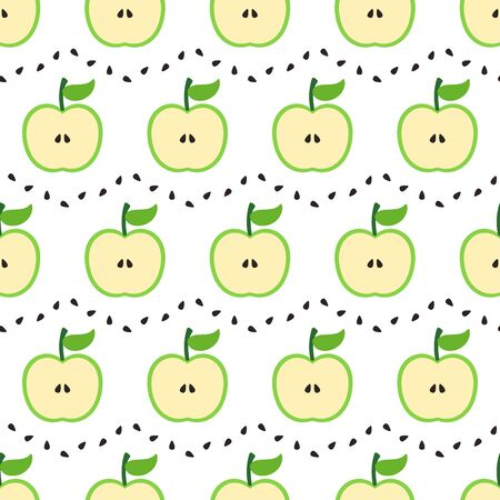 Green apple and apple seed seamless pattern on white background. Perfect for wallpaper, background, wrapping paper, fabric, packaging, greeting cards, invitations