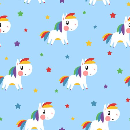 Rainbow pony and star pattern on blue background. Great for wallpaper, background, wrapping paper, fabric, packaging, greeting cards, invitations Foto de archivo - 133685563