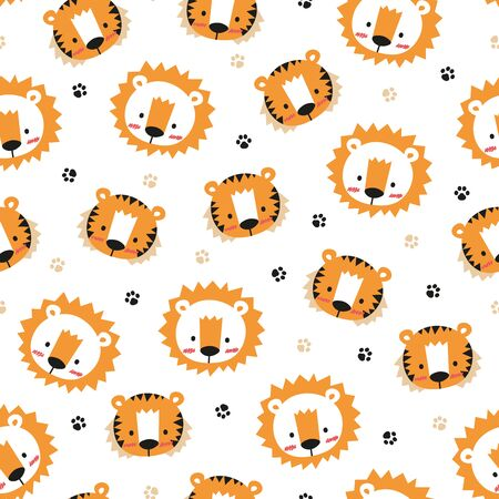 Adorable lion and tiger pattern on white background. Great for wrapping paper, wallpaper, background, fabric, packaging, greeting cards, invitations and more.