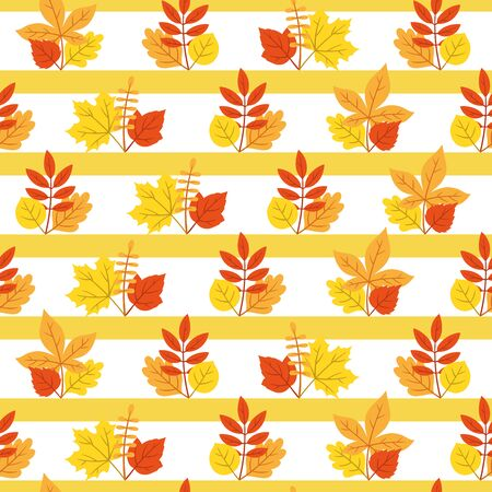 Vector seamless autumn leaf and yellow line pattern on white background. Great for wrapping paper, wallpaper, pattern fills, post cards, print