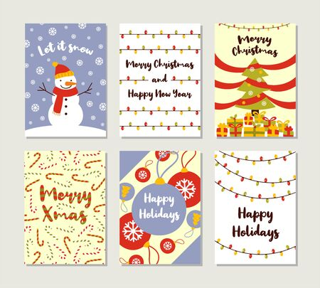 Set of Christmas and Happy New Year greeting cards with handwritten calligraphy and hand drawn decorative elements. Vector simple Christmas postcards. Archivio Fotografico - 133685589
