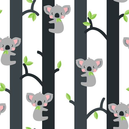 Cute koalas in trees seamless pattern on white background. Great for wallpaper, web background, wrapping paper, fabric, packaging, greeting cards, invitations and more.