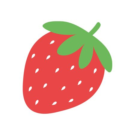 Simple vector strawberry illustration. Flat strawberry icon.
