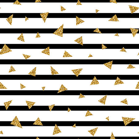 Black stripe and glitter triangle seamless pattern on white background. Great for wallpaper, web background, wrapping paper, fabric, packaging, greeting cards, invitations and more.