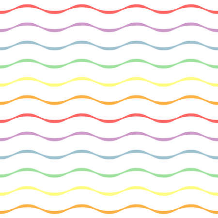 Rainbow wavy stripe repeat pattern on white background. Great for wallpaper, web background, wrapping paper, fabric, packaging, greeting cards, invitations and more.