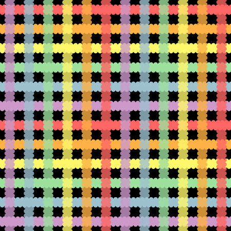 Plaid rainbow repeat pattern on black background. Great for wallpaper, web background, wrapping paper, fabric, packaging, greeting cards, invitations and more.