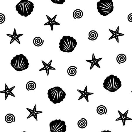 Black starfish and seashell seamless pattern on white background. Summer seamless pattern. Great for wallpaper, web background, wrapping paper, fabric, packaging, greeting cards, invitations and more.
