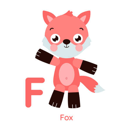Cute animal alphabet. Letter F. Fox illustration. Series A-Z.