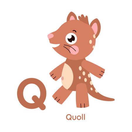 Cute animal alphabet. Letter Q. Character illustration. Series A-Z.