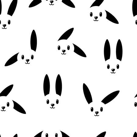 Bunny pattern on white background. Great for wallpaper, web background, wrapping paper, fabric, packaging, greeting cards, invitations and more. Illustration