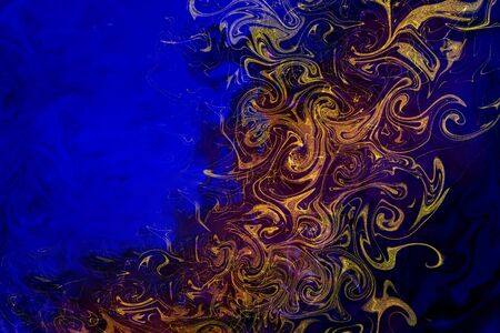 Abstract blue-violet with gold spots. Stok Fotoğraf