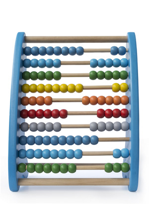 computations: Colorful abacus isolated on white Stock Photo