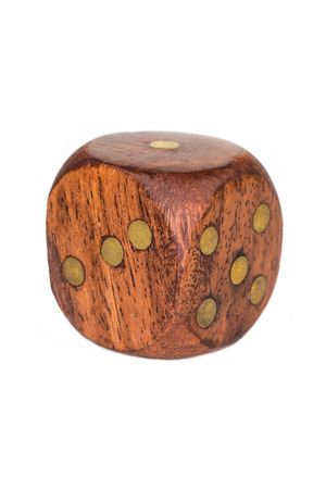 wooden dice isolated over white Stock Photo