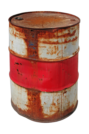 Rusty barrel isolated over white