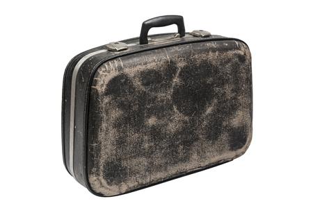Black vintage luggage isolated