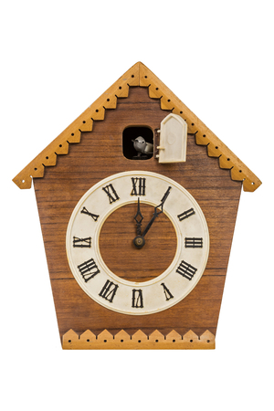 Old cuckoo clock isolated over white background Stok Fotoğraf - 93859526