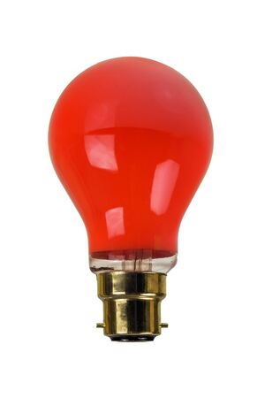 Used old darkroom red light bulb isolated over white background