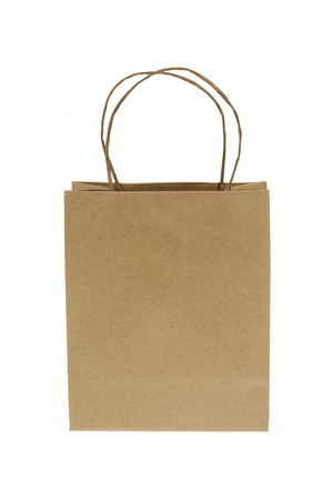 Small craft paper bag isolated over white Stock Photo