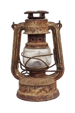 Rusty vintage lantern isolated over white background Stock Photo