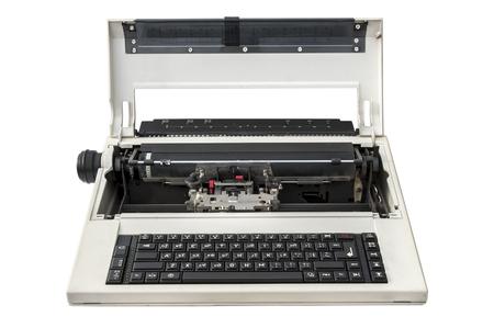 Old portable electronic typewriter isolated over white background