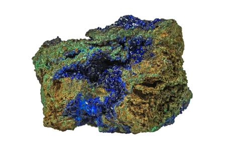 Azurite & Green Malachite isolated over white