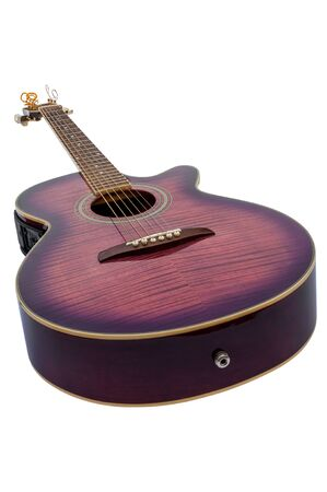 Purple electro acoustic guitar isolated over white