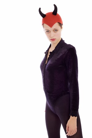 Suit of black colour and with a red hat photo